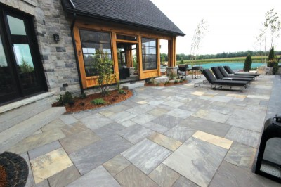 Open-concept patio with high-quality patio stones
