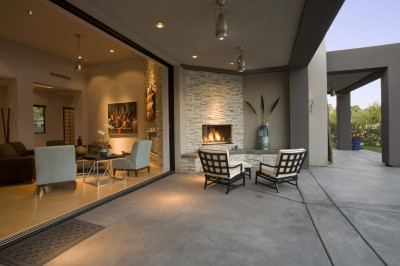 Outdoor fireplace patio installation.