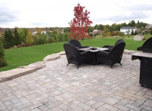 Backyard patio area surrounded by green grass in the fall.