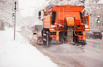 Road salt being applied to the streets in the winter.