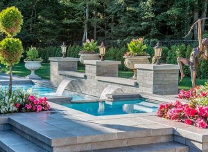 Outdoor water features in a pool